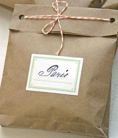 simple, elegant, recycled -- easy and quick way to wrap a gift -- 'brown paper packages tied up with string'