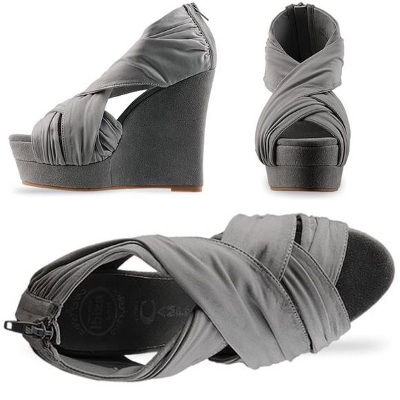 Jeffrey Campbell Take-2 Gray Wedge Never worn outside - but slightly dirty from store use so there is dust on the straps shown in photos - otherwise amazing and comfortable!! Jeffrey Campbell Shoes Wedges
