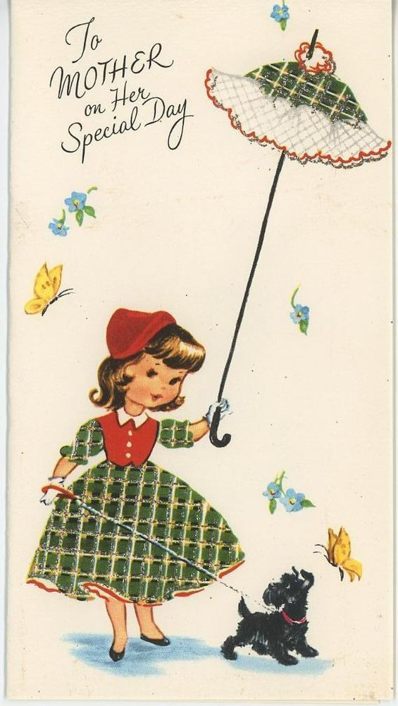Vintage Scotty Dog Girl In Plaid Green Red Dress Parasol