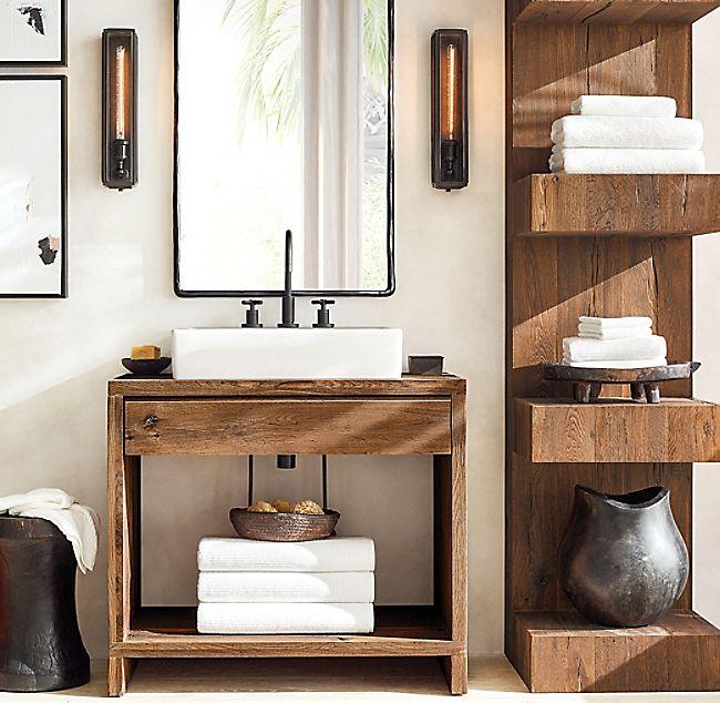 Oak Brule Waterfall Single Washstand Bathroom Vanity Decor Restoration Hardware Bathroom Bathroom Decor