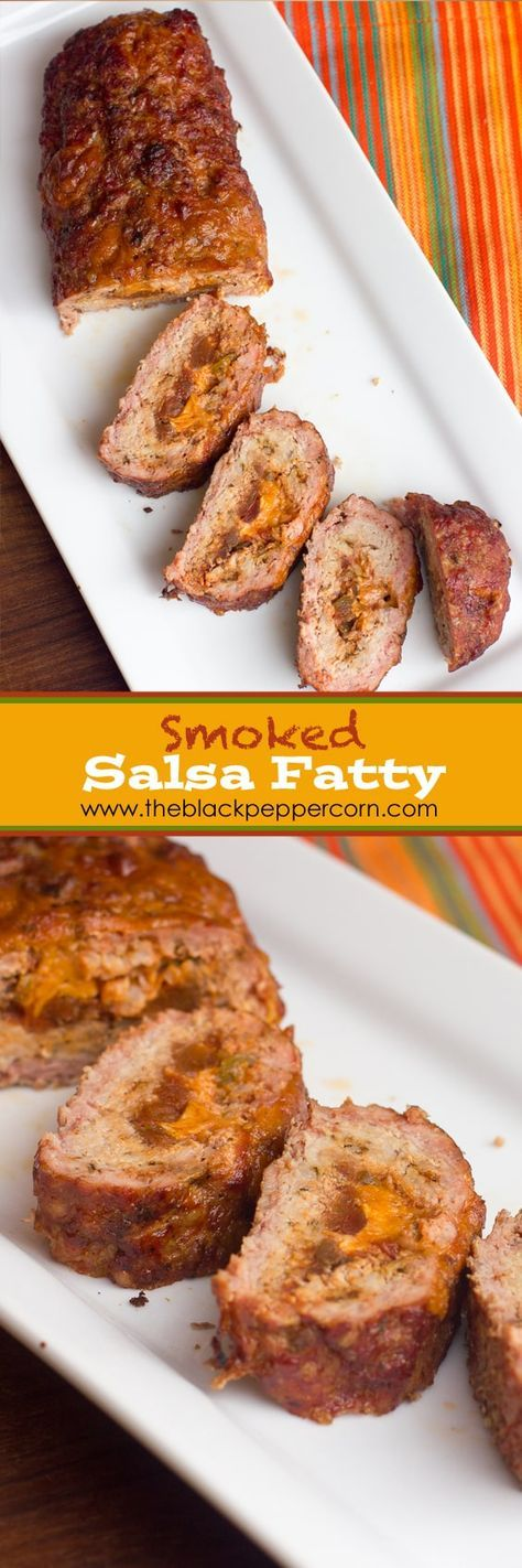 Smoked Salsa Fatty Meatloaf - Smoked meatloaf stuffed with salsa and cheddar cheese. Made with ground pork. This fatty is made in an electric smoker but is great in pellet or lump charcoal smokers as well.
