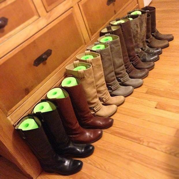 Pool Noodle Boot Trees ~ such a great idea to keep your boots from losing their shape