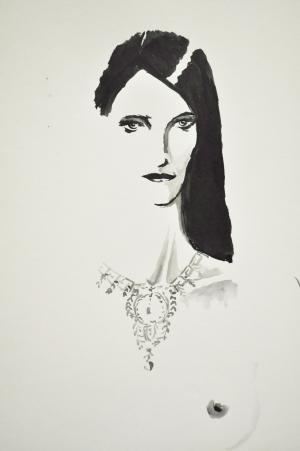 """Always of the """"jewels"""" this woman is the first experiment with ecoline. The experiment, in addition to providing an ink that is not china but behaves like watercolor, was able to reproduce the drawing without a pencil drawing below."""