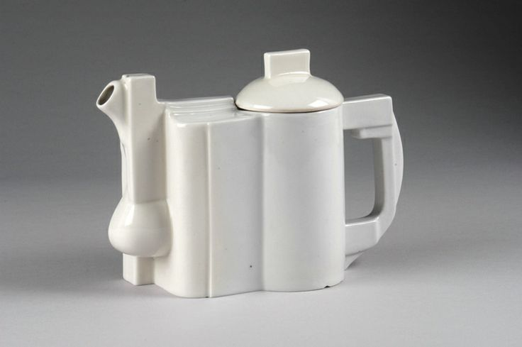 """Kazimir Malevich (Russian, 1878-1935)/ State Porcelain Factory (Russia) """"Suprematist Teapot""""  designed 1923, manuf. c. 1930 porcelain 6.25 x 9.25 x 4"""" Photo: Kevin O'Dwyer. 2006.116"""