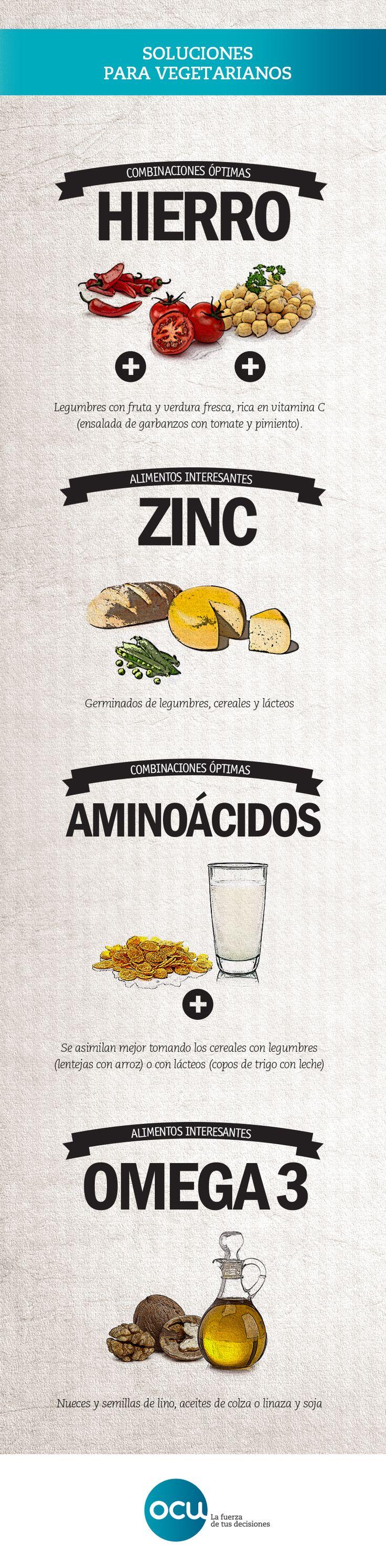 Combinaciones vegetarianas: las mezclas de alimentos más interesantes para llenar de nutrientes una dieta vegetariana. Que no te falte de nada.