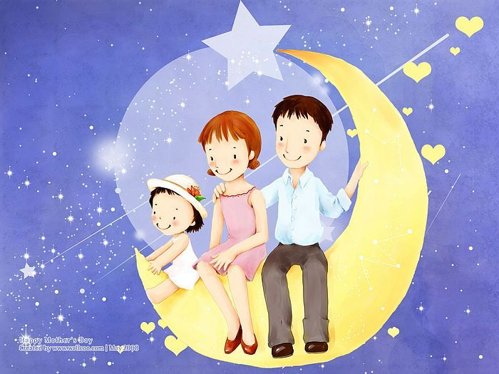 1600*1200  Children's illustration of Mother Day and Family Love - 1680*1050 Children's illustration of Sweet family Life - Lovely Family Illustration11