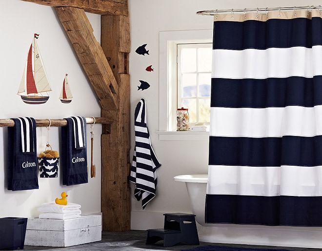 Rugby Shower Curtain For Boysu0027 Bathroom | Pottery Barn Kids
