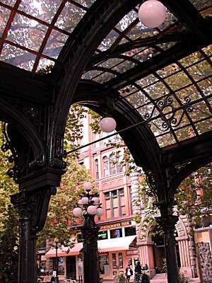 The pergola in Pioneer Square, downtown Seattle- National Register of Historic Places