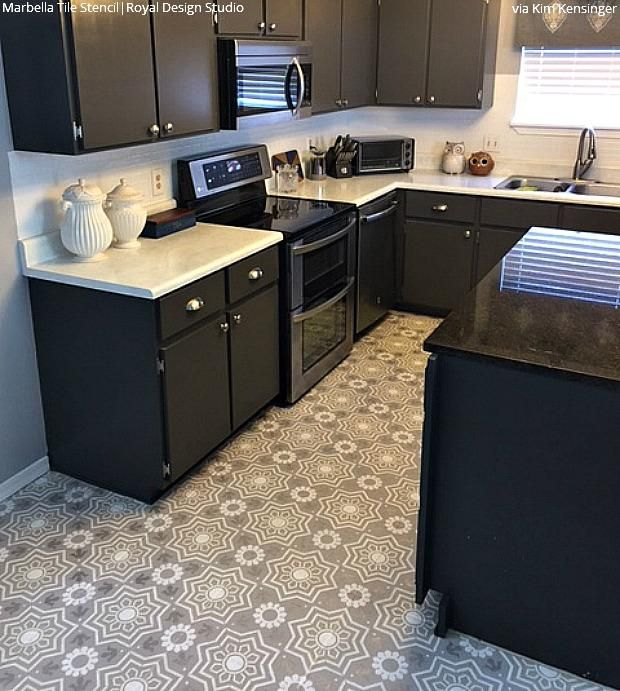 Painted Tile Floor Stencils That Anyone Can Do In 2020 Kitchen Remodel Kitchen Design Kitchen Flooring