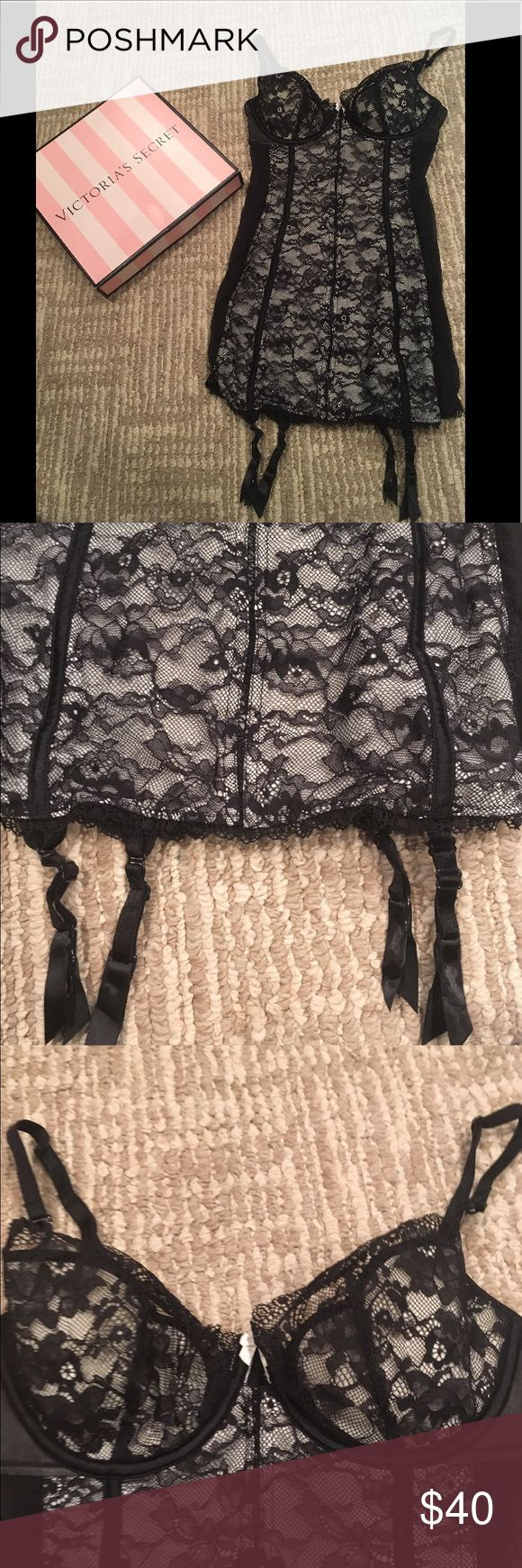 VICTORIAS SECRET SEXY LACE BABYDOLL TEDDY LINGERIE Victoria's Secret sexy little thing Black and Tan lace lingerie with adjustable straps and harder straps on the bottom to hold up stockings! Sexy and gorgeous open lace back! Fast shipping follow for deals bundle for discounts! Victoria's Secret Intimates & Sleepwear