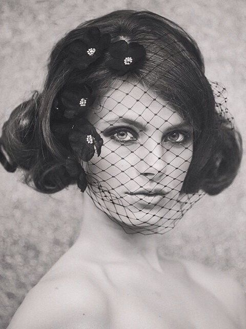 Halloween Bride - Fall Weddings - Wedding Birdcage Veil - Bridal Birdcage Veil - Wedding Birdcage Veil - Abigail Petaled Birdcage style #111 by gadegaarddesign on Etsy https://www.etsy.com/listing/189490612/halloween-bride-fall-weddings-wedding
