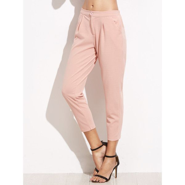 SheIn(sheinside) Elastic Waist Slim Leg Crop Pants (52 BRL) ❤ liked on Polyvore featuring pants, capris, tapered pants, stretch waistband pants, pink capri pants, cropped capris and stretch capris