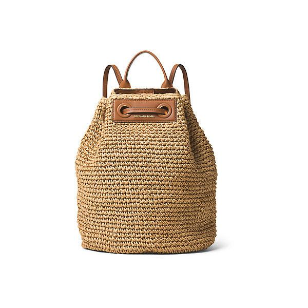 Michael Kors Krissy Large Straw Backpack (3.294.060 IDR) ❤ liked on Polyvore featuring bags, backpacks, woven backpack, rucksack bag, brown backpack, woven straw bag and michael kors bags