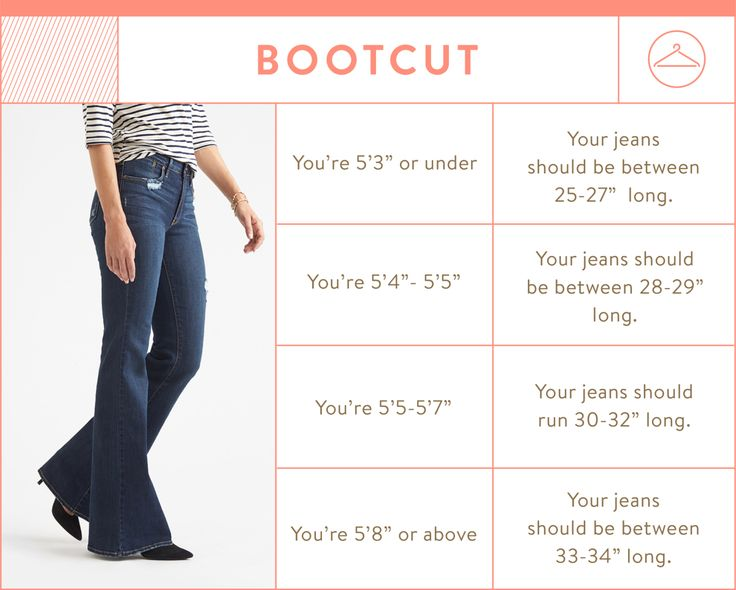 bootcut jean inseam chart - bootcut jean inseam by height