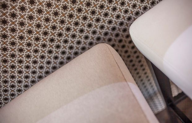 BROCHIER's fabric ANDROMEDA is a small jacquard pattern inspired by #moroccan #pottery.