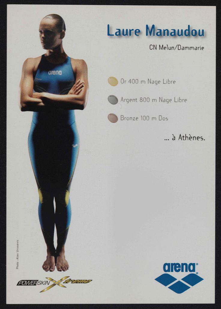 Portrait en pied de la nageuse Laure Manaudou et présentation de son palmarès des Jeux Olympiques de 2004 à Athènes, carte publicitaire, 2004-2005 (Collection MNS). #Sport #Histoire #Natation #Manaudou #JO #Athènes #Arena