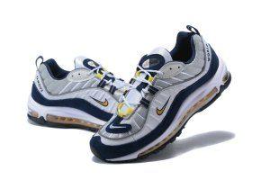 Mens Nike Air Max 98 White Tour Yellow Midnight Navy 640744 105 Sportswear 952cbb5dc317