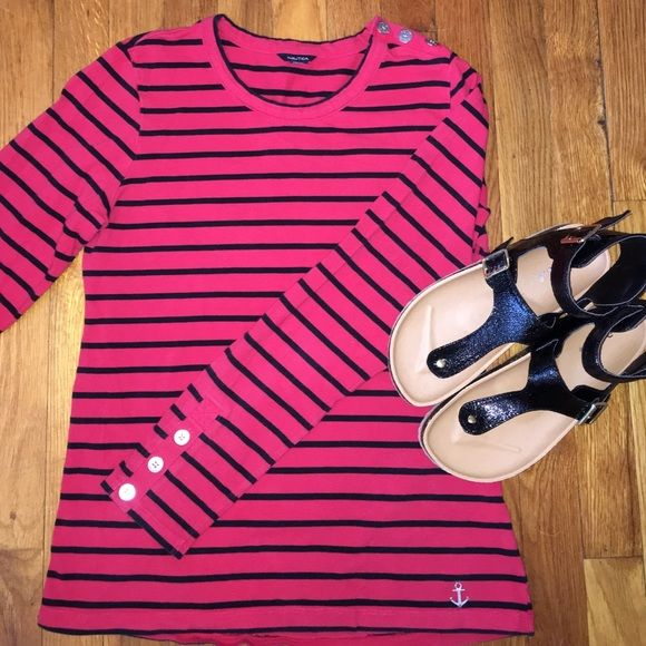 Nautical Long Sleeve Top Size M Cute top, size medium, in good condition Nautica Tops Tees - Long Sleeve