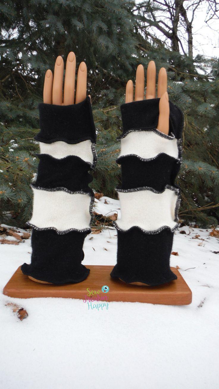Driving texting gloves - Black White Cashmere Arm Warmers Driving Gloves Texting Gloves Wrist Warmers