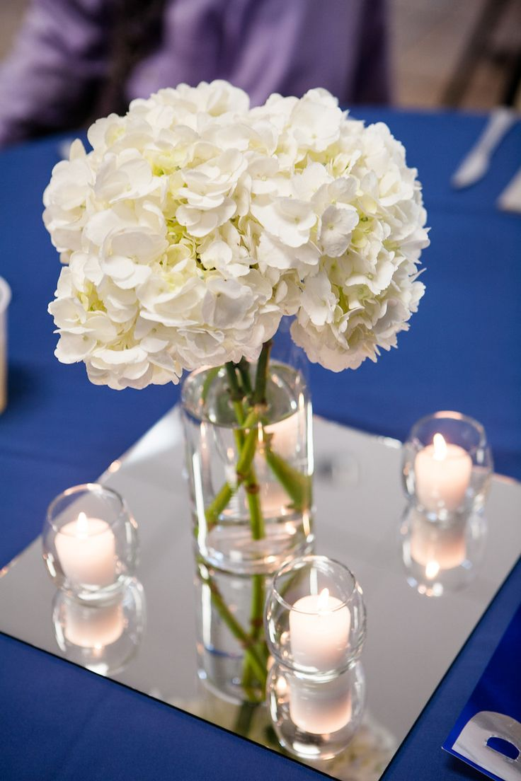 Simple Wedding Reception Centerpieces White Hydrangeas Short Vase Tea Light Candles Amp Glass
