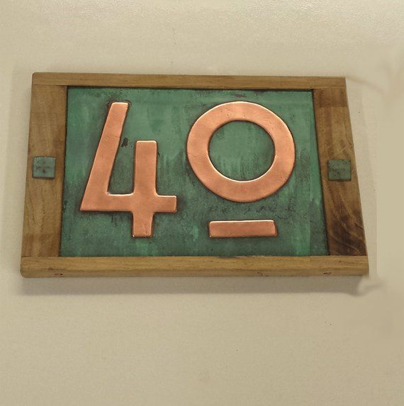 Copper Address Plaque In Mission Mackintosh Style Oak Framed 2 X Nos 3 75mm Or 4 100mm Polished Patinated And Laquered G House Numbers Copper House Arts And Crafts Movement