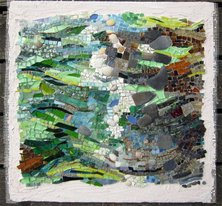 abstract mosaic artworks inspired by nature and