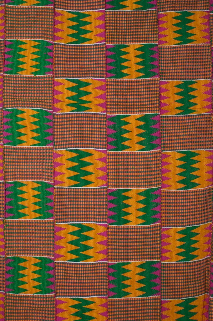 Africa   Kente Cloth, Ghana ~ DetailKente cloth has its origin with the Ashanti Kingdom, and was adopted by people in Ivory Coast and many other West African counties. It is an Akan royal and sacred cloth worn only in times of extreme importance and was the cloth of kings. It is the best known of all African textiles. Kente comes from the word kenten, which means basket in Akan dialect Asante. Akans refer to kente as nwentoma, meaning woven cloth.