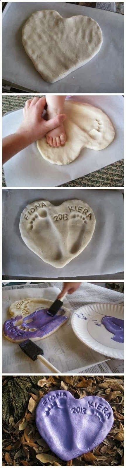 Great ornament idea for grandparents/ aunts/ uncles... Salt Dough Footprint Heart