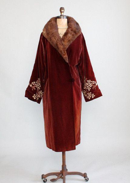Vintage 1920s velvet and fur coat                                                                                                                                                                                 More