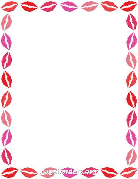 Printable lips border. Use the border in Microsoft Word or other programs for creating flyers, invitations, and other printables. Free GIF, JPG, PDF, and PNG downloads at http://pageborders.org/download/lips-border/
