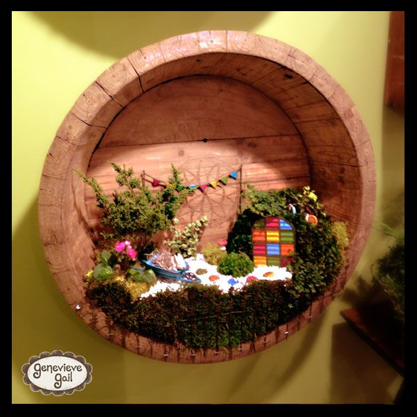 "My new miniature garden line, ""Gypsy Garden"", I developed for @Magnet Works, Ltd / Studio M! # miniature, mini, garden, fairy, whiskey barrel, planter, Genevieve Gail"
