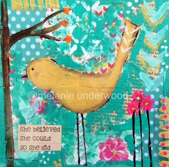 bird art print she believed she could so by sunshinegirldesigns