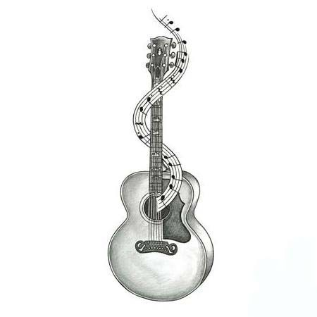 Acoustic Guitar Tattoo Ideas