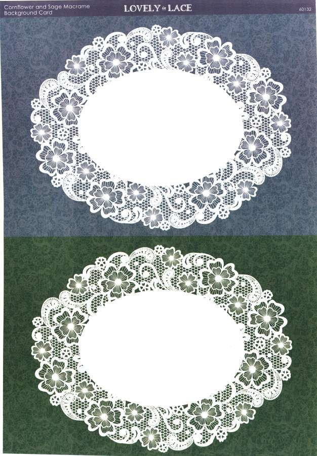 Kanban Crafts - Lovely in Lace - printed background card - Cornflower and Sage Macrame