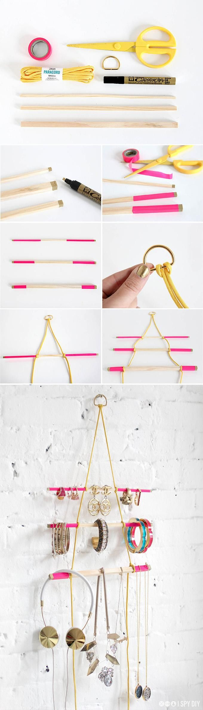 Make a genius jewelry organizer with a few dowels and some paracord. #DIY
