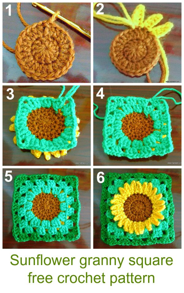 how to crochet sunflower granny square - free pattern