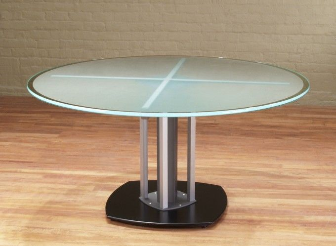 Round Glass Top Meeting Table And Frosted Glass Meeting With Integrated  Wiringu2026