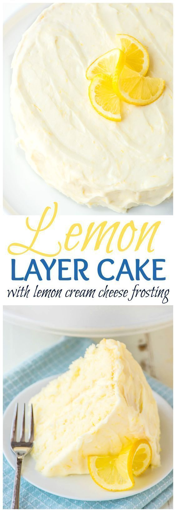 Lemon Cake with Lemon Cream Cheese Frosting - Supremely moist and fluffy lemon layer cake with homemade lemon cream cheese frosting. Every bite bursts with fresh lemon flavor! The perfect cake for any occasion.