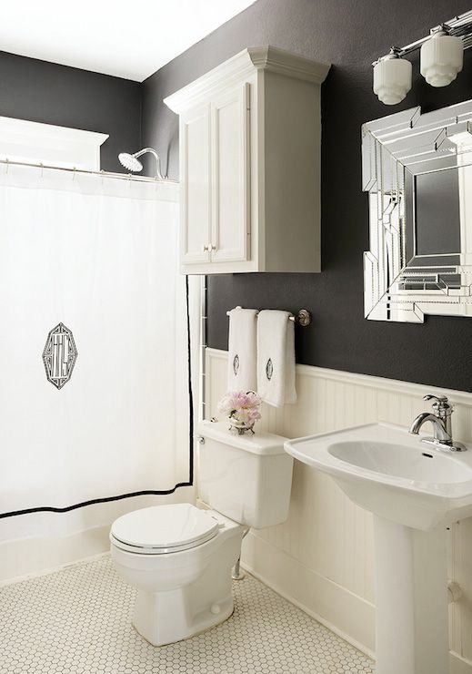 Monogrammed Shower Curtain - Transitional - bathroom - Hallie Henley Design