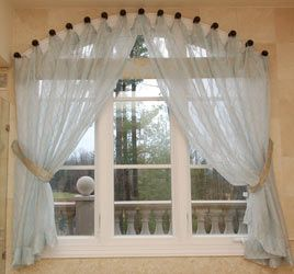 30 best images about project curtains on pinterest for Arched kitchen window treatment ideas