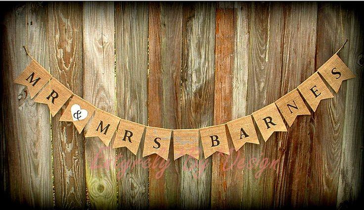 Custom MR & MRS LAST NAME Burlap Banner Wedding Venue Decoration Photo Prop