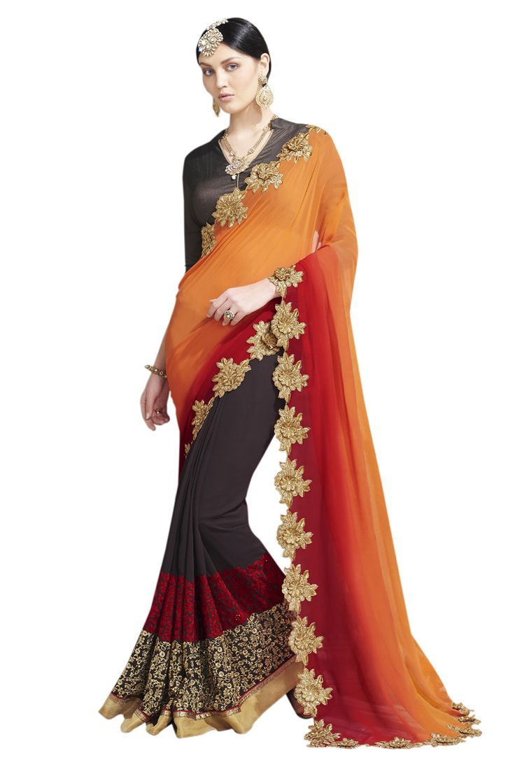 Buy Now Multicolour Embroidery Work Chiffon-Georgette Half-Half Fancy Saree only at Lalgulal.com. To ‪#‎Order‬ :- http://goo.gl/2Z9kuU To Order you Call or ‪#‎Whatsapp‬ us on +91-95121-50402 COD & Free Shipping Available only in India.
