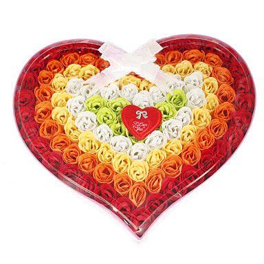 Heart Shaped Colorful Rose Petal Soaps Weeding Favor - USD $ 46.99