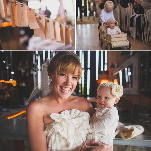 Baby flower girl in a wagon! Dana Powers Barn Wedding via @Grey Likes