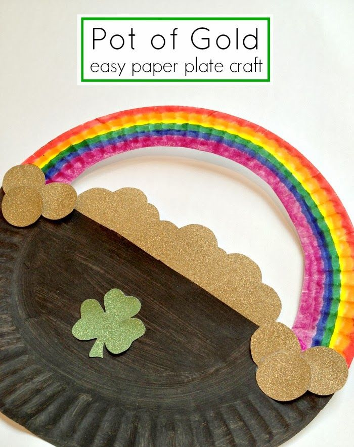 Free and simple paper plate craft ~ St. Patrick's Day Pot of Gold.