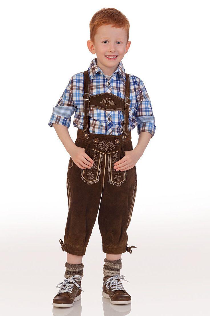 Urige #Kniebundlederhose mit bestickter Tellernaht hinten und Messertasche seitlich. #Kinderkniebundlederhose