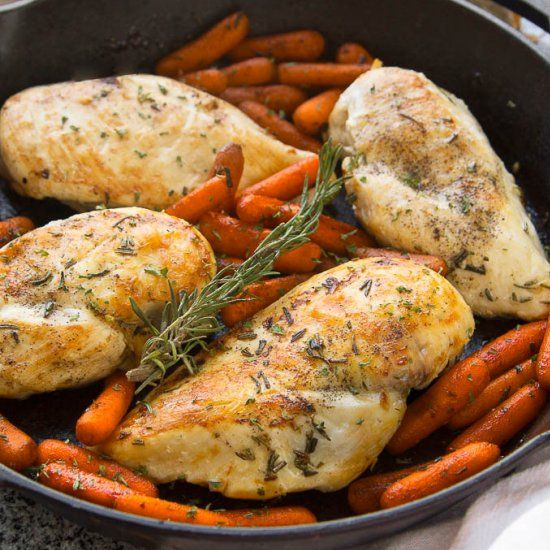 Low in fat and calories, this Healthy Rosemary Chicken is on the table in less than an hour! Served with Orange