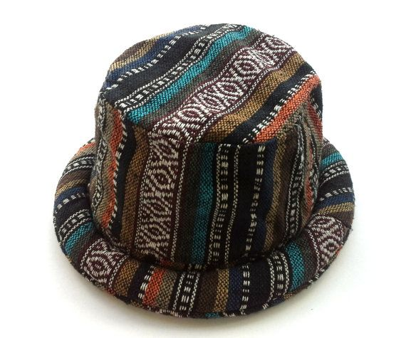 Hippie Mens Bucket hat, Funky style Hipster hat, Boho Bohemian hat, Pork Pie Trilby, Perfect Gift idea