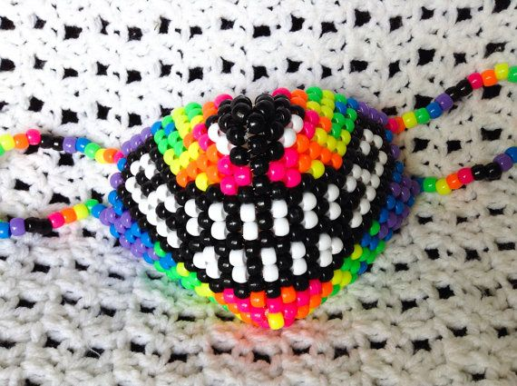Neon Wolf Mask By JinxyJess Kandi Photos On Kandi Patterns Rave Amazing Kandi Mask Patterns