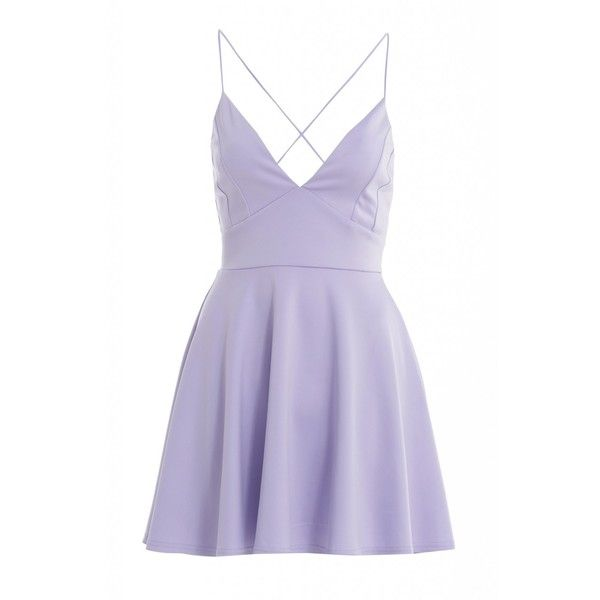 AX Paris Plain Plunge Front Skater Dress (£18) ❤ liked on Polyvore featuring dresses, vestidos, short dresses, purple, plunge dress, ax paris dresses, short purple dresses and purple skater dress